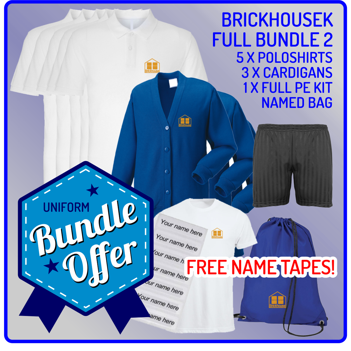 Bundle offer of 5 Poloshrts, 3 Cardigans, PE T, Shorts and PE Back with 12 Free name tapes!