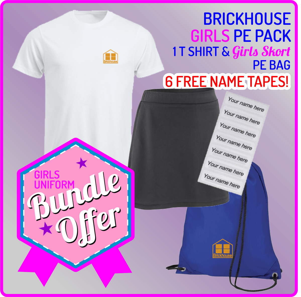 Bundle offer of T Shirt, Girls Skorts and a PE Bag! - includes FREE NAMES TAPES!